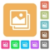 Pictures rounded square flat icons - Pictures icons on rounded square vivid color backgrounds.