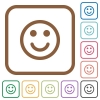 Smiling emoticon simple icons - Smiling emoticon simple icons in color rounded square frames on white background