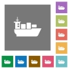 Sea transport flat icons on simple color square background. - Sea transport square flat icons