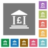 Pound bank office square flat icons - Pound bank office flat icons on simple color square background.