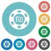 New Shekel casino chip flat round icons - New Shekel casino chip flat white icons on round color backgrounds