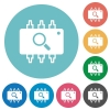 Hardware test flat round icons - Hardware test flat white icons on round color backgrounds