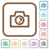 Camera simple icons - Camera simple icons in color rounded square frames on white background