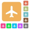 Airplane rounded square flat icons - Airplane icons on rounded square vivid color backgrounds