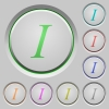 Italic font type push buttons - Italic font type color icons on sunk push buttons