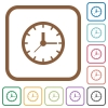Clock simple icons - Clock simple icons in color rounded square frames on white background