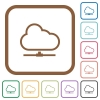 Cloud network simple icons - Cloud network simple icons in color rounded square frames on white background
