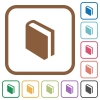 Book simple icons - Book simple icons in color rounded square frames on white background