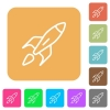 Launched rocket rounded square flat icons - Launched rocket icons on rounded square vivid color backgrounds.