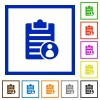 Note owner flat framed icons - Note owner flat color icons in square frames