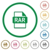 RAR file format flat icons with outlines - RAR file format flat color icons in round outlines on white background
