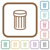 Trash simple icons - Trash simple icons in color rounded square frames on white background