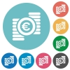 Euro coins flat round icons - Euro coins flat white icons on round color backgrounds
