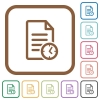 Document modified time simple icons - Document modified time simple icons in color rounded square frames on white background