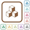 Cubes simple icons - Cubes simple icons in color rounded square frames on white background