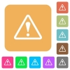Warning sign rounded square flat icons - Warning sign icons on rounded square vivid color backgrounds.