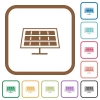Solar panel simple icons in color rounded square frames on white background - Solar panel simple icons