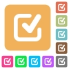 Checkmark rounded square flat icons - Checkmark icons on rounded square vivid color backgrounds.