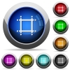 Adjust canvas size icons in round glossy buttons with steel frames - Adjust canvas size glossy buttons
