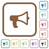 Megaphone simple icons - Megaphone simple icons in color rounded square frames on white background