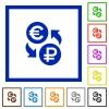 Euro Ruble exchange flat framed icons - Euro Ruble exchange flat color icons in square frames on white background