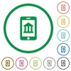 Mobile banking flat icons with outlines - Mobile banking flat color icons in round outlines on white background