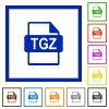 TGZ file format flat framed icons - TGZ file format flat color icons in square frames on white background