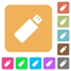 Pendrive rounded square flat icons - Pendrive icons on rounded square vivid color backgrounds.