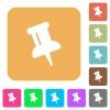 Push pin rounded square flat icons - Push pin icons on rounded square vivid color backgrounds.
