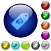 Ruble price label color glass buttons - Ruble price label icons on round color glass buttons