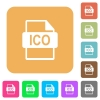 ICO file format rounded square flat icons - ICO file format icons on rounded square vivid color backgrounds.