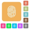 Fingerprint rounded square flat icons - Fingerprint icons on rounded square vivid color backgrounds.