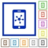 Mobile social network flat framed icons - Mobile social network flat color icons in square frames on white background