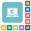 Laptop with Euro sign rounded square flat icons - Laptop with Euro sign white flat icons on color rounded square backgrounds