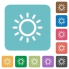 Brightness control rounded square flat icons - Brightness control white flat icons on color rounded square backgrounds