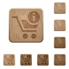 Cart item info wooden buttons - Cart item info icons on carved wooden button styles