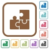 Puzzles simple icons - Puzzles simple icons in color rounded square frames on white background