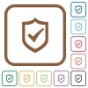Active shield simple icons - Active shield simple icons in color rounded square frames on white background