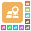 Map location rounded square flat icons - Map location icons on rounded square vivid color backgrounds.
