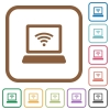 Computer with wireless symbol simple icons - Computer with wireless symbol simple icons in color rounded square frames on white background