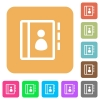 Contacts rounded square flat icons - Contacts icons on rounded square vivid color backgrounds.