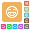 Laughing emoticon rounded square flat icons - Laughing emoticon icons on rounded square vivid color backgrounds.