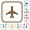 Airplane simple icons - Airplane simple icons in color rounded square frames on white background