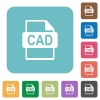 CAD file format rounded square flat icons - CAD file format white flat icons on color rounded square backgrounds