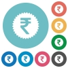 Indian Rupee sticker flat round icons - Indian Rupee sticker flat white icons on round color backgrounds