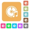 Audio CD rounded square flat icons - Audio CD icons on rounded square vivid color backgrounds.