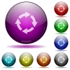 Rotate right glass sphere buttons - Rotate right icons in color glass sphere buttons with shadows