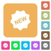 New badge rounded square flat icons - New badge icons on rounded square vivid color backgrounds.