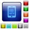 Mobile office color square buttons - Mobile office icons in rounded square color glossy button set