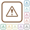 Warning sign simple icons - Warning sign simple icons in color rounded square frames on white background
